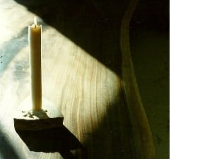 Candle light and Sunlight on the Sacred Peace Table.