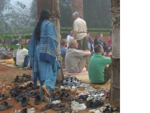 Visitors arriving leave their shoes and their thoughts behind.