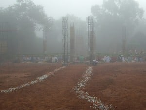 The long path to peace, as dawn breaks over the City of Peace, Auroville, India.