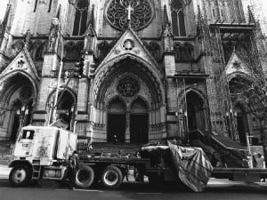 Delivery by flat-bed-truck to the front door of the The Cathedral of St. John the Divine. Nakashima had considered the United Nations as a possible site, but said its doors were too small!