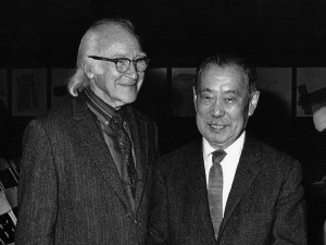 "George Nakashima with his dear friend and supporter of his Peace Altar idea, George Wald, after arrival of the Altar at the Cathedral, a dream come true. Wald was a co-recipient of the ""Nobel Prize in Physiology or Medicine"" in 1967, for his work on mechanisms of vision and Higgins Professor of Biology Emeritus at Harvard University. George Wald later wrote colleagues in Russia on behalf of the Peace Table for Russia."