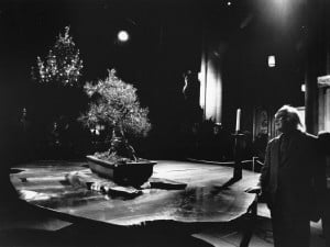 George Wald in The Cathedral of St. John the Divine, quietly contemplating the Altar with bonsai, candle, and Christmas tree in background.