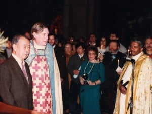 George Nakashima with the ecumenical Episcopal Dean James Parks Morton during the midnight dedication, with hundreds of candles held by participants