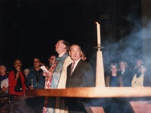 Nakashima and Dean Morton, with candle and incense burning on the Altar.