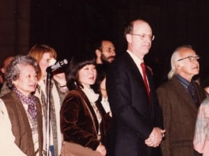 During the ceremony: From left, Marion Nakashima, Mira Nakashima, Steven C. Rockefeller, main benefactor of the Altar project, and George Wald, Nobel Laureate, and supporter of Nakashima's vision for peace.