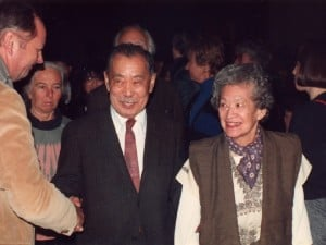 George and Marion Nakashima after the dedication. They had rented a tour bus to bring their friends to and from New Hope for the event, and celebrated at the Studio on their return.