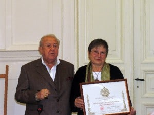 Nakashima Foundation for Peace Board Member, Irene Goldman accepts awards on behalf of the Foundation from Russian Academy of Arts President, Zurab Tsereteli, at the Praesidium meeting of the Academy.
