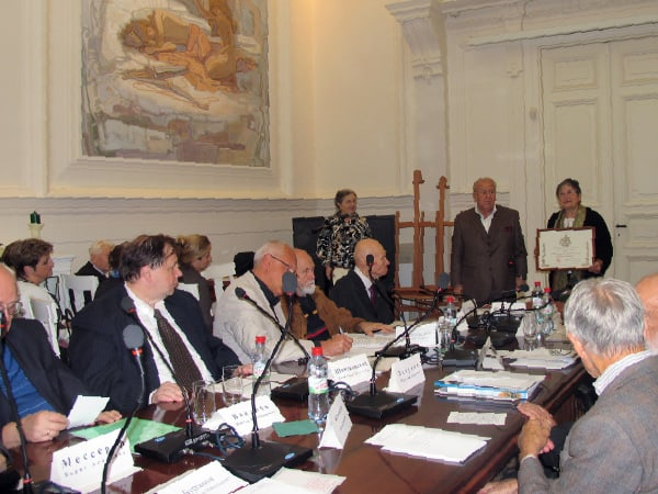 Praesidium of Academicians - Russian Academy of Arts when George Nakashima was inducted posthumously as Distinguished Academician of the Academy and when the Nakashima Foundation for Peace was honored with an Award of Appreciation