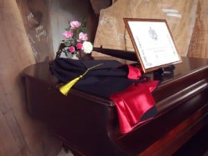 George Nakashima's Award, Cap and Gown at home in the Nakashima Foundation for Peace Arts Building in New Hope.