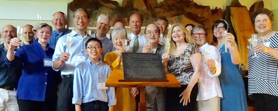 Joining George Nakashima's great grandson, Toshi Amagasu, in unveiling the historic plaque are Nakashima Foundation for Peace Board Members and Speakers for the occasion.