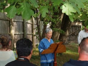 Mira Nakashima greeting members of the Nakashima Family who gathered for the occasion; acknowledging her father George Nakashima who made it all happen; and thanking Jeffrey Marshall of the Heritage Conservancy, as well as Karen Galle and David Long.